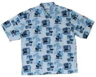 Guy Harvey Vintage Lighthouse - Woven, Aloha-Style Shirt in Blue