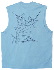 Guy Harvey Brushstroke Slam Back-Print Muscle Shirt in Carolina Blue