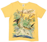 Guy Harvey Island Marlin Front-Print Ladies Tee in Black or Yellow