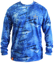Guy Harvey Legend Camo Men's Performance Long Sleeve Tee in Royal Blue