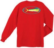 Guy Harvey Doval Back-Print Men's Long Sleeve Tee, w/Pocket, in Red