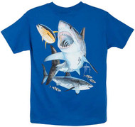 Guy Harvey Great White Boys Tee in White, Red, Royal Blue, Turquoise or Carolina Blue