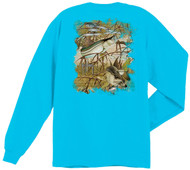 Guy Harvey Snook Camo Back-Print Men's Long Sleeve Tee, w/Pocket, in White or Aqua Blue