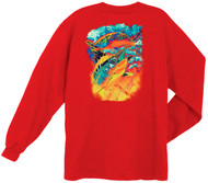 Guy Harvey Hot Pursuit Back-Print Men's Long Sleeve Tee, w/Pocket, in Red