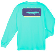 Guy Harvey Woodblock Back-Print Men's Long Sleeve Tee, w/Pocket, in White or Mint
