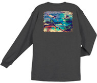 Guy Harvey What it's All About Back-Print Men's Long Sleeve Tee, w/Pocket, in Charcoal Heather, Pool Blue or Red