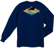 Guy Harvey Downwind Back-Print Men's Long Sleeve Tee w/Pocket in Navy Blue