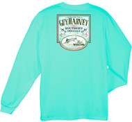 Guy Harvey Sweet Caramel Back-Print Men's Long Sleeve Tee, w/Pocket, in Mint or White