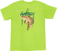 Guy Harvey GH Red Mens Back-Print Pocketless Tee w/ Front Signature in Lime