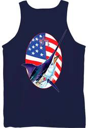 Guy Harvey Merican Back-Print Men's Tank Top in Navy or White