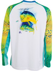 Guy Harvey  Phaser Pro UVX Performance Long Sleeve Shirt in White