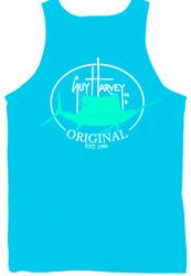 Guy Harvey Original Fin Back-Print Men's Tank Top in Pacific Blue or White
