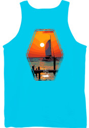 Guy Harvey Tranquility Back-Print Men's Tank Top in Pacific Blue