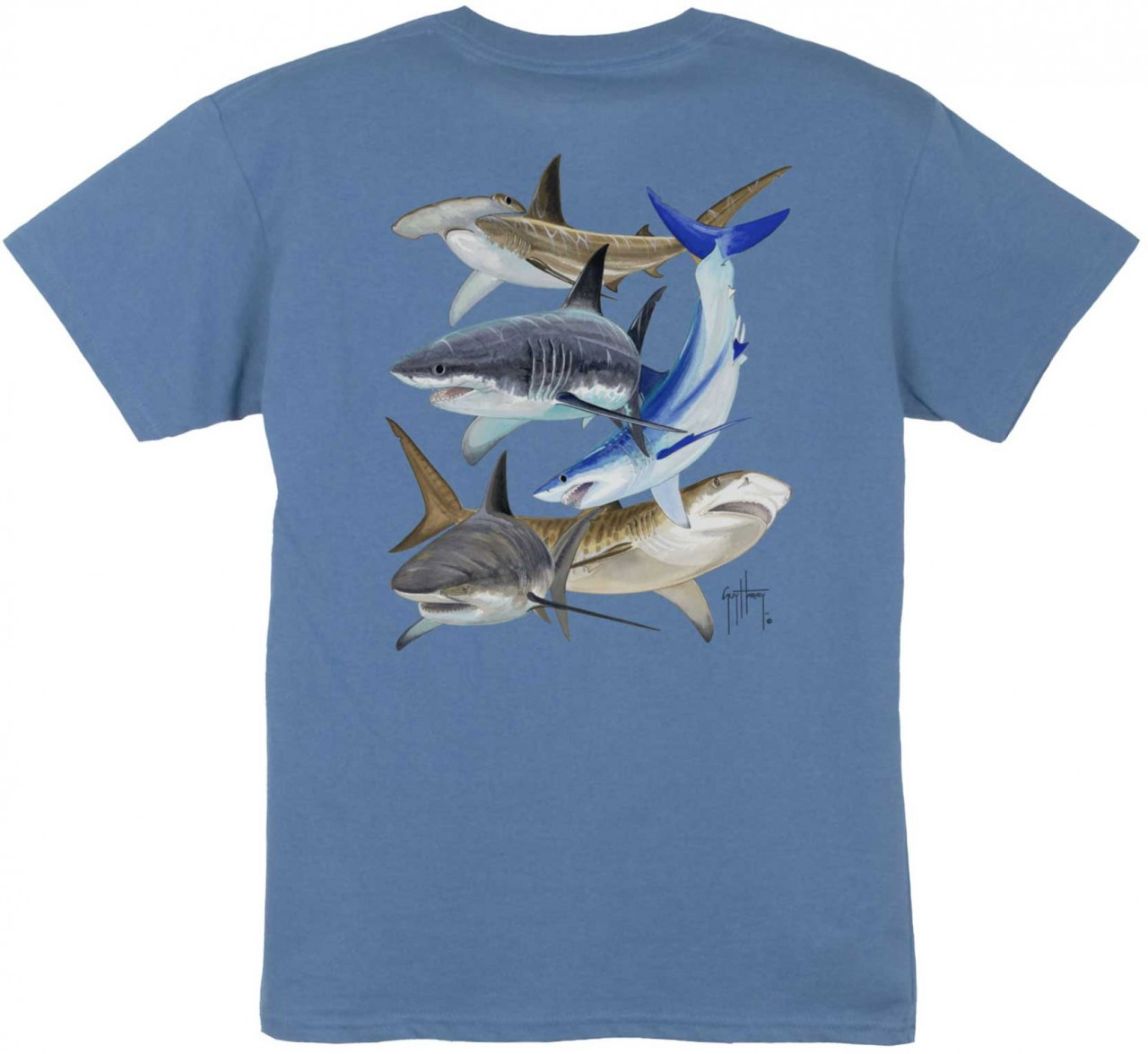 8dbf31e4 Guy Harvey Shark Collage Boys Tee Shirt in Denim Blue, White or Red.  $15.00. See 3 more pictures