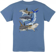 Guy Harvey Shark Collage Boys Tee Shirt in  Denim Blue, White or Red