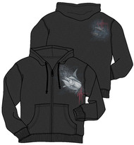 Guy Harvey Marlin Yellowfin Men's Back-Printed Fleece Zip-Front Hoodie in Charcoal Gray
