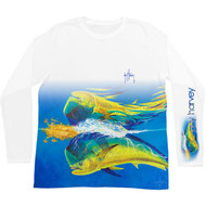 Guy Harvey  Mahi Reflections Pro UVX Performance Long Sleeve Shirt in White