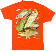 Guy Harvey Bass Collage Boys Tee Shirt in Hot Pink, Yellow, Orange, or White