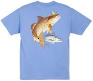 Guy Harvey Redfish Seatrout Boys Tee Shirt in Yellow, Navy, White, Turquoise,Carolina Blue, Orange