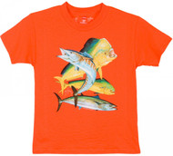 Guy Harvey Bull Dolphin, Wahoo, Kingfish Boys Tee Shirt in Navy, Hot Pink, Orange or White