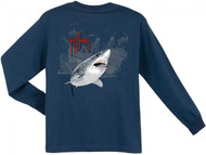 Guy Harvey Pirate Shark 3 Long Sleeve Boys Tee Shirt in Orange, Navy, White or Red