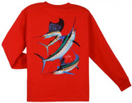 Guy Harvey Grand Slam Long Sleeve Boys Tee Shirt in Orange, Royal Blue, White or Red