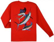 Guy Harvey Grand Slam Long Sleeve Boys Tee Shirt in Orange, Royal Blue, White or Red