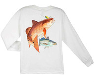 Guy Harvey Redfish Seatrout  Long Sleeve Boys Tee Shirt in White, Yellow or Navy
