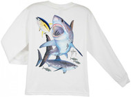 Guy Harvey Great White Long Sleeve Boys Tee Shirt in Red, White or Yellow