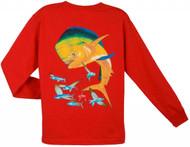 Guy Harvey Bull Dolphin Long Sleeve Boys Tee Shirt in Orange, Red or White