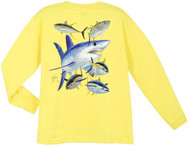 Guy Harvey Mako Shark Long Sleeve Boys Tee Shirt in Red, White, Yellow or Royal
