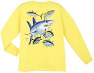 Guy Harvey Mako Shark Long Sleeve Boys Tee Shirt in Red, White, Yellow or Royal