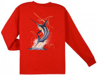 Guy Harvey Swordfish Strike Long Sleeve Boys Tee Shirt in Red, White or Navy