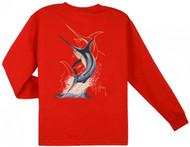 Guy Harvey Swordfish Strike Long Sleeve Boys Tee Shirt in Red, White or Navy