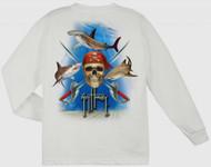 Guy Harvey Pirate Shark Long Sleeve Boys Tee Shirt in Navy, White or Yellow