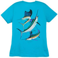 Guy Harvey Grand Slam Ladies Back-Print Tee with Front Signature in Caribbean Blue, Raspberry, Yellow, White, Iris or Spring Yellow