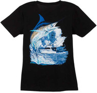 Guy Harvey Marlin Boat Ladies Back-Print Tee with Front Signature in Mint, Caribbean Blue, Black, Yellow or Iris