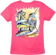 Guy Harvey Palmetto Moon Ladies Back-Print Tee with Front Signature in Caribbean Blue, White, Green or Raspberry