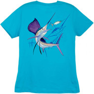 Guy Harvey Sailfish Dash  Back-Print Ladies Tee with Front Signature in Mint, Caribbean Blue, Pink or Yellow