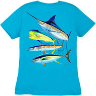 Guy Harvey Foursome  Back-Print Ladies Tee with Front Signature in Caribbean Blue,  Iris, Mint, White or Yellow