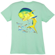 Guy Harvey Bull Dolphin Back-Print Ladies Tee with Front Signature in Mint, Iris or Raspberry