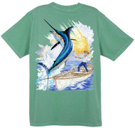 Guy Harvey Vintage Old Man  Back-Print Men's Tee w/ Pocket in Vintage Caribbean Blue, Vintage Pink or Vintage Seafoam