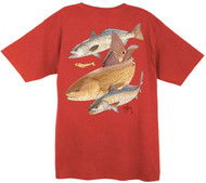 Guy Harvey Vintage Redfish Two Seatrout  Back-Print Men's Tee w/ Pocket in Vintage Crimson, Vintage Bluejean or Vintage Citrus