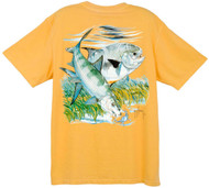 Guy Harvey Vintage Bonefish Back-Print Men's Tee w/ Pocket in Vintage Citrus, Kiwi  or Caribbean Blue