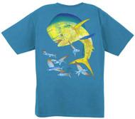 Guy Harvey Vintage Bull Dolphin Back-Print Men's Tee w/ Pocket in Vintage Crimson, Vintage Caribbean Blue, Vintage Pink, Vintage Bluejean, Vintage Melon, Vintage Kiwi or Vintage Khaki