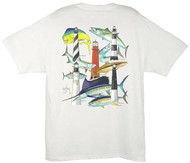 Guy Harvey Florida Lighthouse Collage Men's Back-Print Tee w/ Pocket in White or Aqua Blue