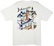 Guy Harvey Carolina Lighthouse Collage Men's Back-Print Tee w/ Pocket in White