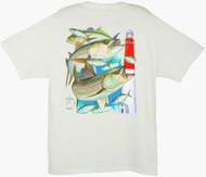 Guy Harvey Striped Bass Barnegat Lighthouse Men's Back-Print Tee w/ Pocket in White