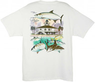 Guy Harvey Boca Grande Lighthouse Men's Back-Print Tee w/ Pocket in White or Yellow