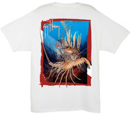 Guy Harvey Rock Lobster Dive Men's Back-Print Tee w/ Pocket in White